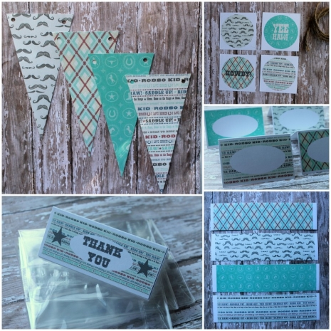cowboy cowgirl instant download printable party package