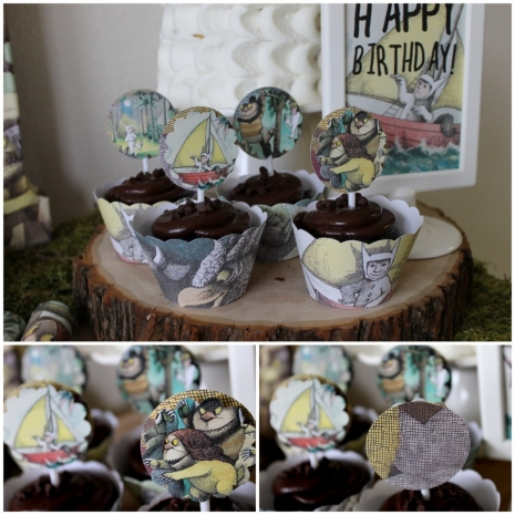 Cupcake topper PDF file where the wild things are