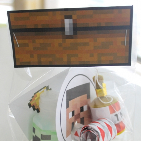 minecraft birthday party favor bag topper favor set