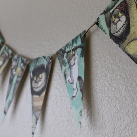 where the wild things are theme birthday party baby shower party pennant banner