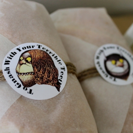 where the wild things are theme birthday party baby shower food label/stickers