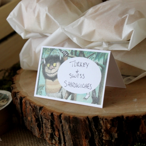 Where the wild things are Food labels or Place Cards PDF instant download