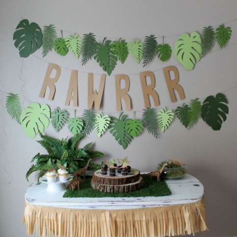 RAWRRR dinosaur party banner