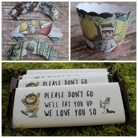 where the wild things are cupcake sleeves or liners and chocolate bar sleeves