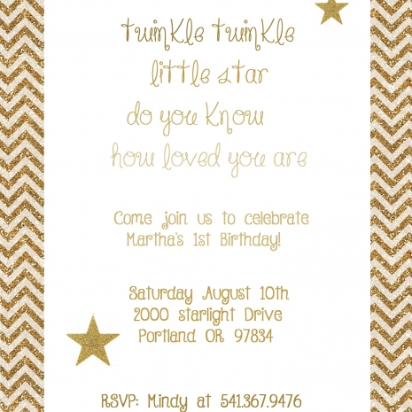 twinkle twinkle little star gold glitter printable party package