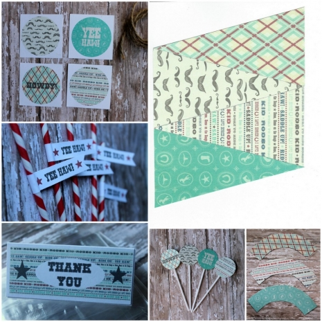 cowboy cowgirl party banner straw flags stickers bag toppers cupcake sleeves