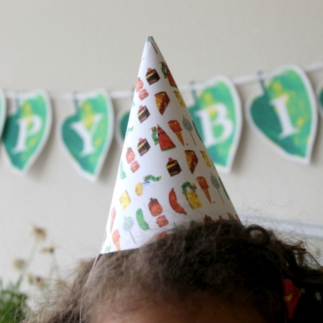 Very Hungry Caterpillar theme party package, birthday, baby shower, party hats