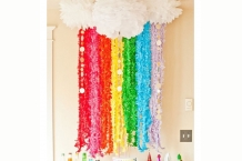 Rainbow Frill Streamers and Clouds