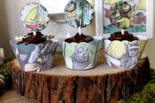 where the wild things are theme birthday party baby shower cupcake sleeves