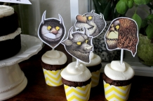 where the wild things are theme birthday party baby shower cupcake toppers