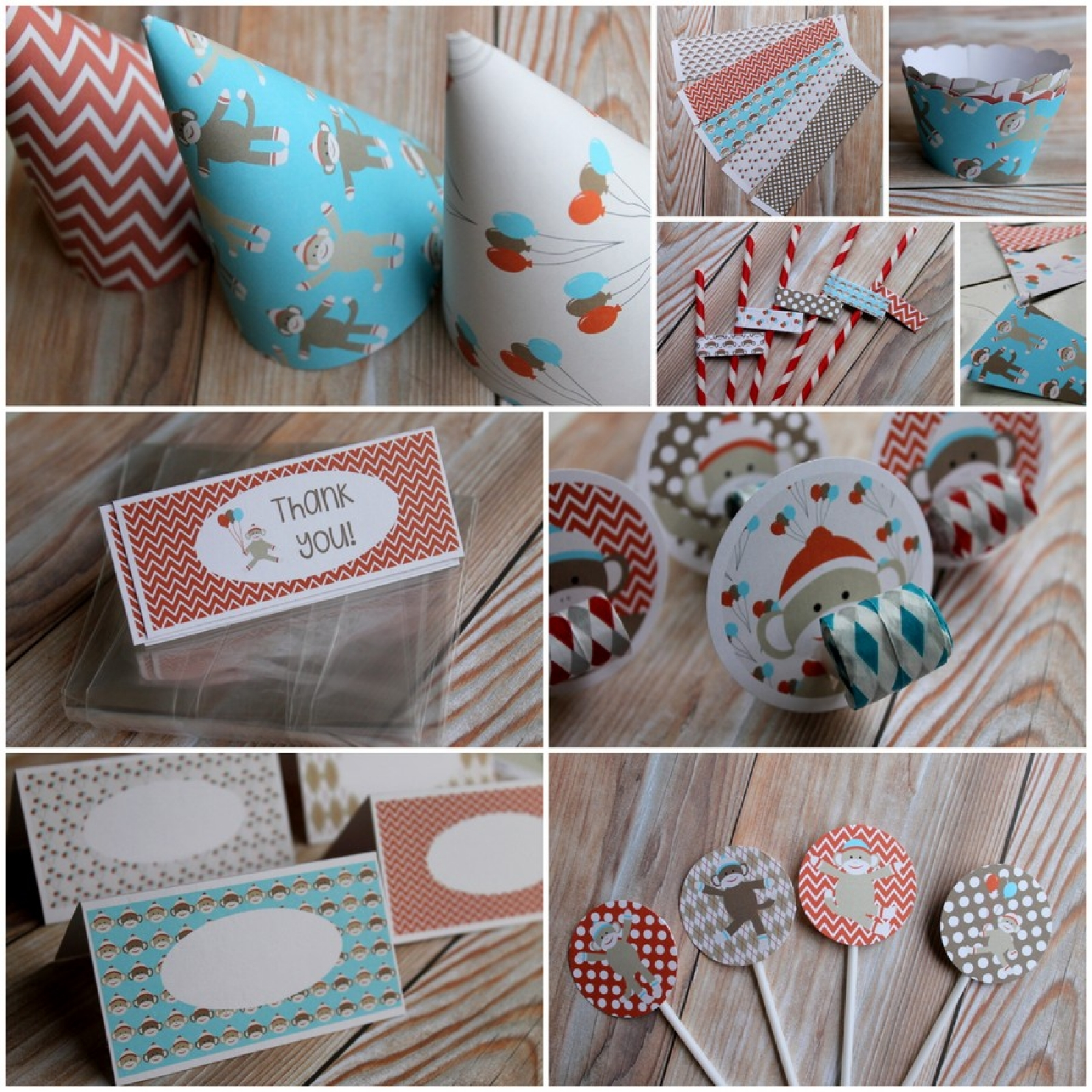 Sock Monkey, Party, Package, Birthday, Baby Shower