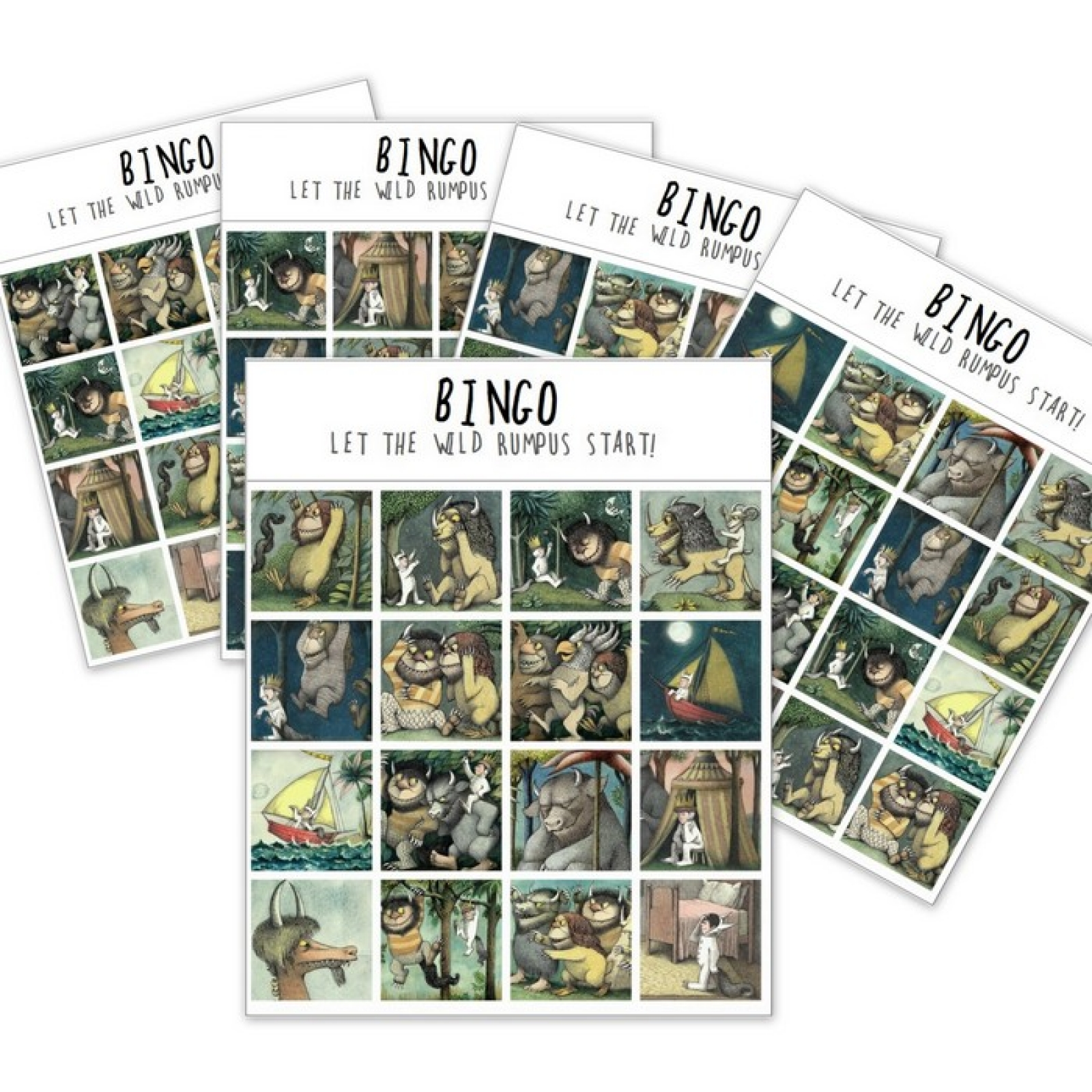graphic regarding Let the Wild Rumpus Start Printable named BINGO! PDF down load wild components match (24 playing cards)